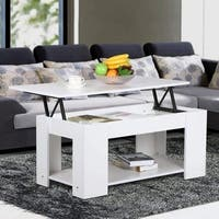 Wood Furni Lift Top Accent End/Coffee Table W/Hidden Storage