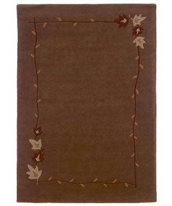 Hand-tufted Autumn Brown Wool Rug (8' x 10'6)