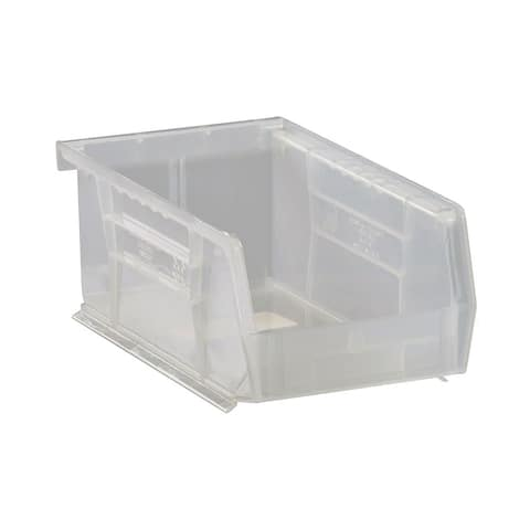 "Quantum Plastic Storage Clear View Ultra Hang and Stack Bin 7-3/8"" x 4-1/8"" x 3"" - 24 Pack"