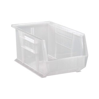 "Quantum Plastic Storage Clear View Ultra Hang and Stack Bin 14-3/4"" x 8-1/4"" x 7"" - 12 Pack"