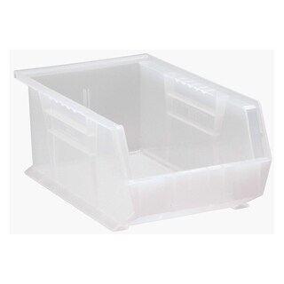 "Quantum Plastic Storage Clear View Ultra Hang and Stack Bin 13-5/8"" x 8-1/4"" x 6"" - 12 Pack"