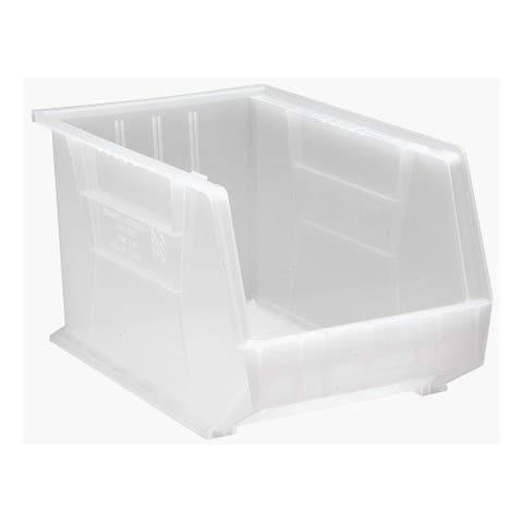 """Offex Plastic Storage Clear View Ultra Hang and Stack Bin 18"""" x 11"""" x 10"""" - 4 Pack"""