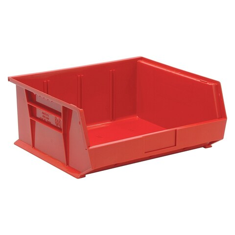 """Quantum QUS250 Plastic Storage Red Stack and Hang Bin 14-3/4"""" x 16-1/2"""" x 7"""" - 6 Pack"""