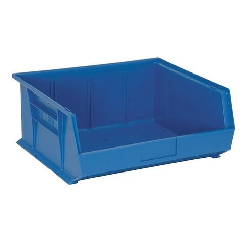 "Quantum QUS250 Plastic Storage Blue Stack and Hang Bin 14-3/4"" x 16-1/2"" x 7"" - 6 Pack"