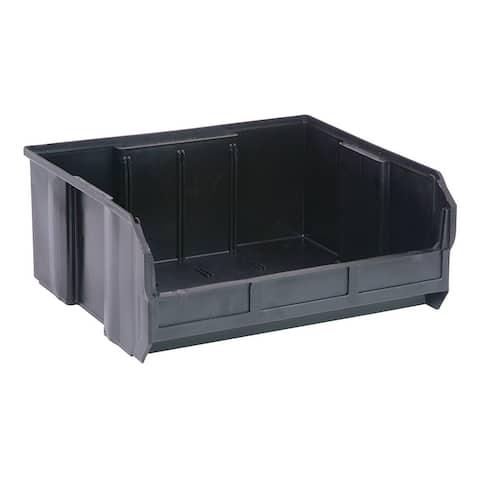 "Quantum QUS250 Plastic Storage Black Stack and Hang Bin 14-3/4"" x 16-1/2"" x 7"" - 6 Pack"