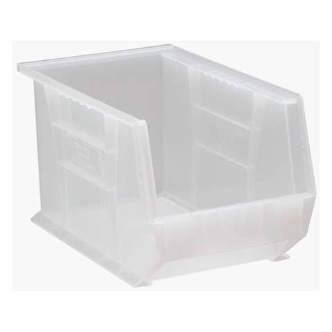 """Quantum Plastic Storage Clear View Ultra Hang and Stack Bin 13-5/8"""" x 8-1/4"""" x 8"""" - 12 Pack"""