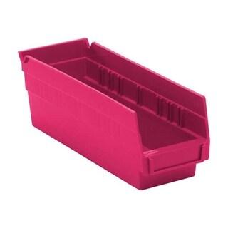 "Offex Economy Polypropylene 4"" Pink Shelf Bins - 36 Pack"
