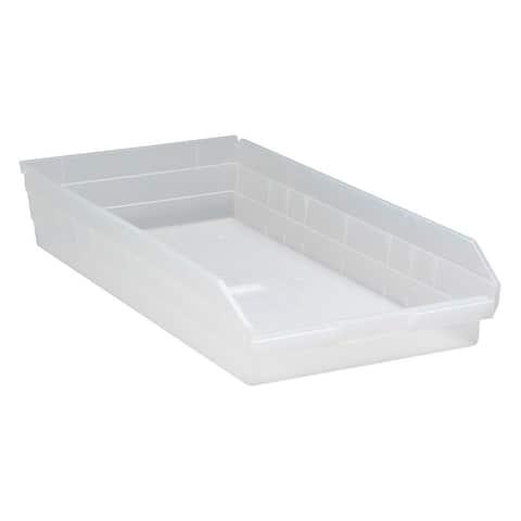"Offex Clear View Polypropylene Economy Shelf Bin 23.62""x 11.12""x 4"" - 6 Pack"