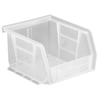 "Quantum Plastic Storage Clear View Ultra Hang and Stack Bin 5"" x 4-1/8"" x 3"" - 24 Pack"