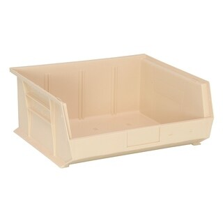 "Quantum QUS250 Plastic Storage Ivory Stack and Hang Bin 14-3/4"" x 16-1/2"" x 7"" - 6 Pack"