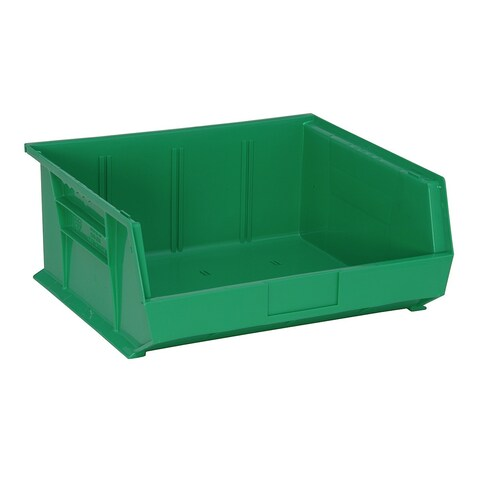 "Quantum QUS250 Plastic Storage Green Stack and Hang Bin 14-3/4"" x 16-1/2"" x 7"" - 6 Pack"