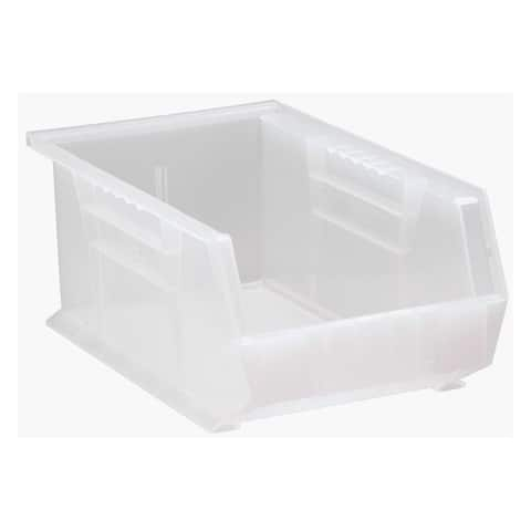 """Offex Plastic Storage Clear View Ultra Hang and Stack Bin 13-5/8"""" x 8-1/4"""" x 6"""" - 12 Pack"""