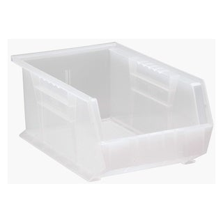 "Offex Plastic Storage Clear View Ultra Hang and Stack Bin 13-5/8"" x 8-1/4"" x 6"" - 12 Pack"