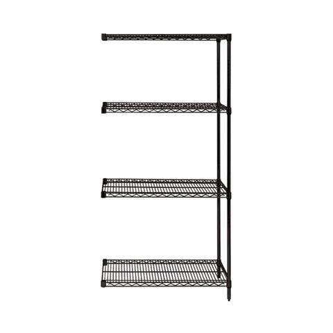"Quantum Wire Shelving 4 Shelf Black Add On Unit - 18"" x 24"" x 54"""