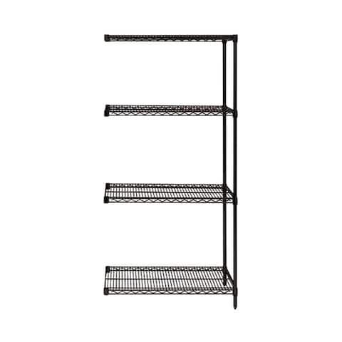 "Quantum Wire Shelving 4 Shelf Black Add On Unit - 12"" x 36"" x 63"""