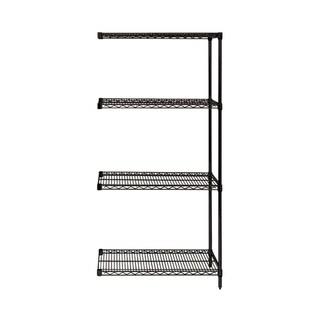 "Offex Wire Shelving 4 Shelf Black Add On Unit - 18"" x 36"" x 54"""