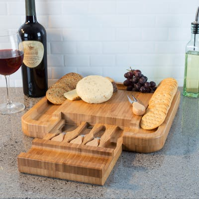Bamboo Cheese Serving Tray with 4 Piece Stainless Steel Cutlery Set and Storage Drawer Classic Cuisine