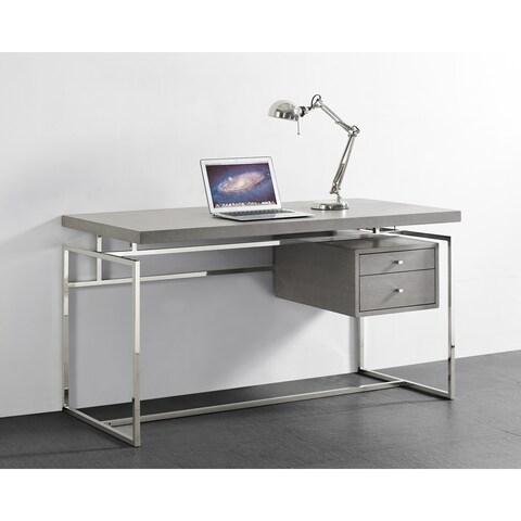 Harlow Grey Oak Veneer/Stainless Steel Desk