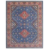 Herat Oriental Afghan Hand-knotted Kazak Vegetable Dye Wool Rug (9'1 x 11'8)