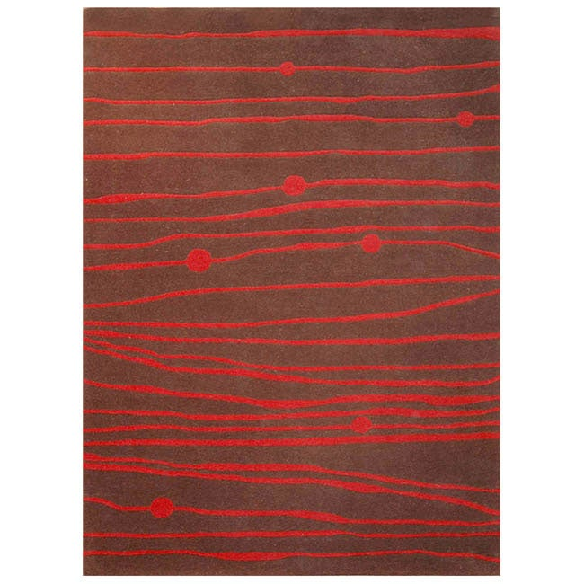 Hand-tufted Zoom Red Wool Rug - 5' x 8'