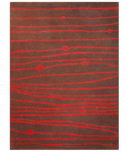 Hand-tufted Zoom Red Wool Rug - 5' x 8' - Thumbnail 0
