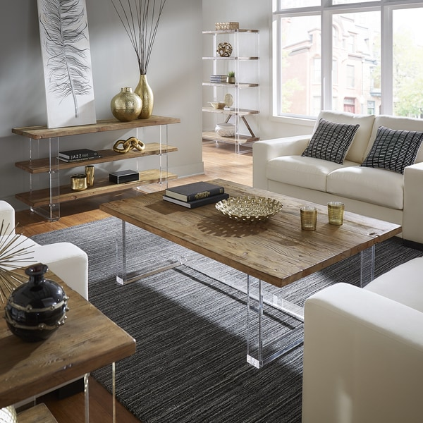 Shop Annika Reclaimed Wood And Acrylic Accent Tables By Inspire Q Rh  Overstock Com