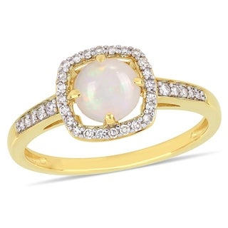 Miadora 10k Yellow Gold Opal And 1 7ct TDW Diamond Floating Halo Ring White