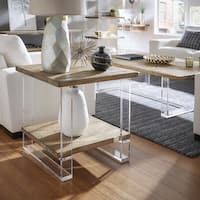 Annika Reclaimed Wood and Acrylic End Table by iNSPIRE Q Artisan