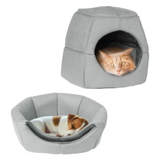 2 in 1 Convertible Pet Bed- Cat, Kitten or Small Dog Bed / Enclosed Cave House PETMAKER
