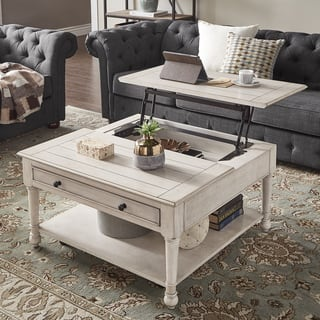 Jude Lift Top Antique White Finish Tail Table With Caster Wheels By Inspire Q Clic