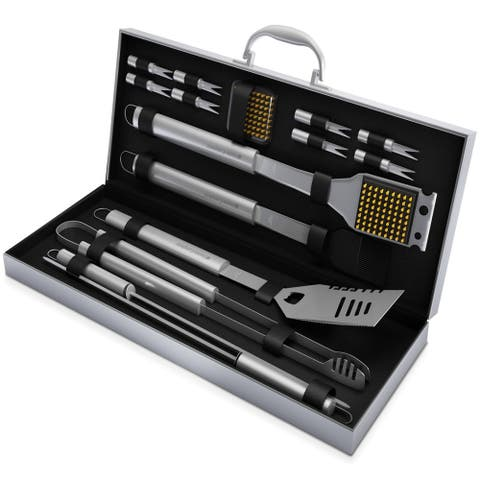 BBQ Grill Tool Set- 16 Piece High Quality Stainless Steel Barbecue Grilling Accessories Home-Complete