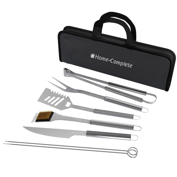 Stainless Steel Barbecue Grilling Accessories with 7 Utensils and Carrying Case Home-Complete. Opens flyout.