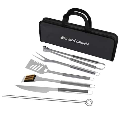 Stainless Steel Barbecue Grilling Accessories with 7 Utensils and Carrying Case Home-Complete