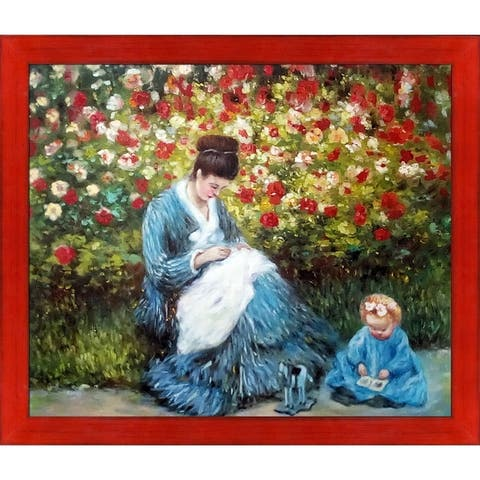 Claude Monet 'Camille Monet and a Child in the Artist's Garden in Argenteuil' Hand Painted Oil Reproduction