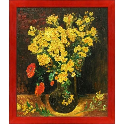 Vincent Van Gogh 'Vase with Viscaria (Poppy Flowers)' Hand Painted Oil Reproduction