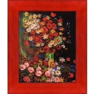 Vincent Van Gogh 'Vase with Poppies Cornflowers Peonies and Chrysanthemums' Hand Painted Oil Reproduction