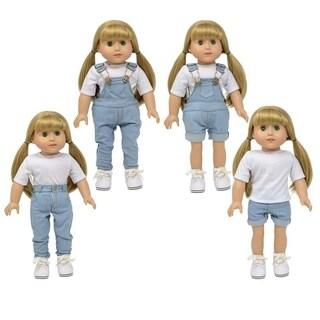 light denim Jean Set of 4 includes: shorts, overalls, pants , short overalls