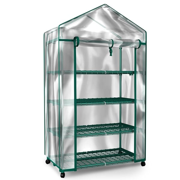 Mini Greenhouse-4-Tier Indoor Outdoor Sturdy Portable Shelves by Home-Complete - 27.1 x 19.3 x 63.3