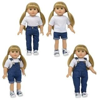 dark denim Jean Set of 4 includes: shorts, overalls, pants, short overalls