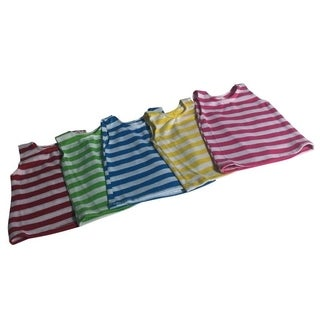 Striped dress set of 5- red stripes, apple green stripes, hot pink stripes, yellow stripes, turquoise stripes