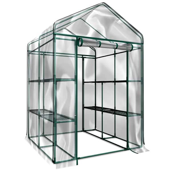 Small Walk In Greenhouse Shelves Plastic Cover Protection For Plants Veg Flowers