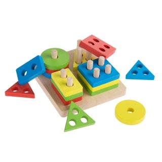 Wooden Shape Sorter-Classic Toddler Sorting and Counting Puzzle-16 Cutout Blocks in 4 Colorful Geometric Shapes Hey! Play!