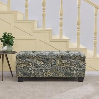 Handy Living LaSalle Grey Paisley Velvet Tufted Wall Hugger Storage Ottoman