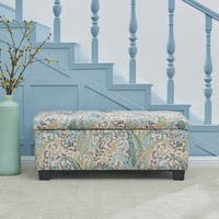 Handy Living LaSalle Blue Paisley Tufted Wall Hugger Storage Ottoman