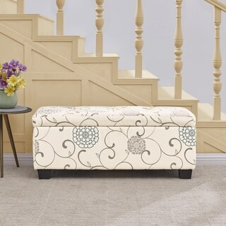 Handy Living LaSalle Floral Tufted Wall Hugger Storage Ottoman