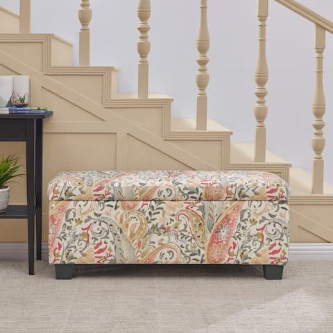 Handy Living LaSalle Coral Paisley Tufted Wall Hugger Storage Ottoman