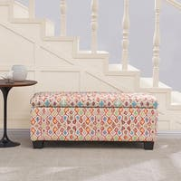 Handy Living LaSalle Multi Red Tufted Wall Hugger Storage Ottoman