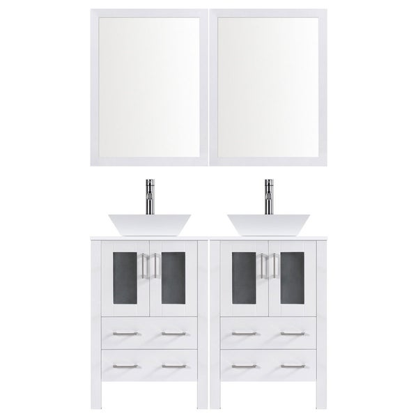 shop lesscare white wood 48 inch modern bathroom vanity set with rh overstock com 48 Inch Bathroom Vanity with Top White Modern Bathroom Vanities