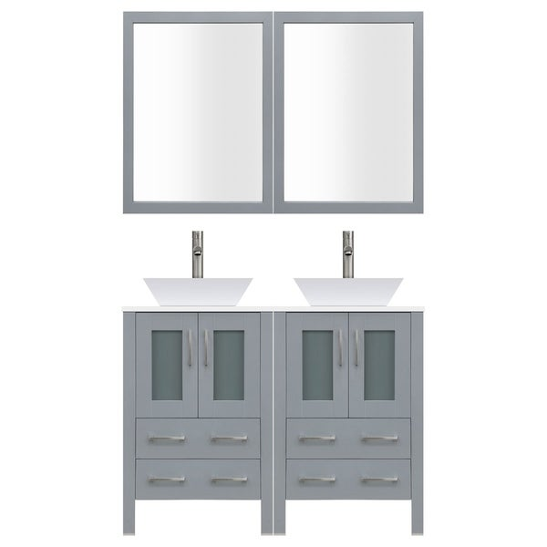 shop lesscare lv2 c10 48 g grey wood 48 inch modern bathroom vanity rh overstock com Rustic Bathroom Vanity 48 Inch White 48 Inch Bathroom Vanities with Tops