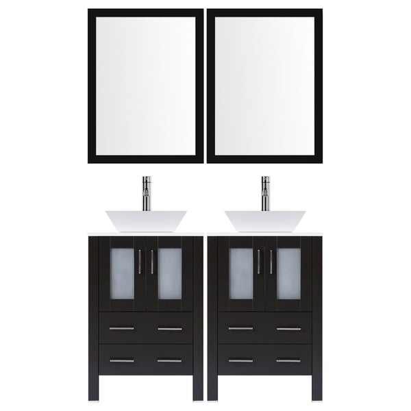 shop lesscare espresso wood 48 inch modern bathroom vanity set with rh overstock com Rustic Bathroom Vanity 48 Inch White 48 Inch Bathroom Vanities with Tops